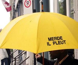 rain, umbrella, and yellow image