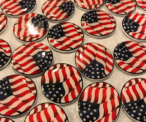 4th of july, brooch, and flags image
