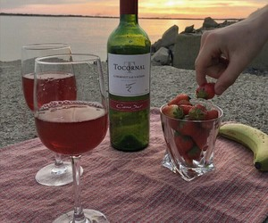 wine, beach, and strawberry image