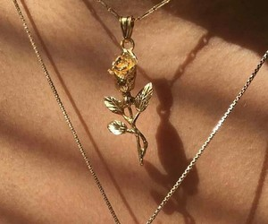 gold, necklace, and new york image