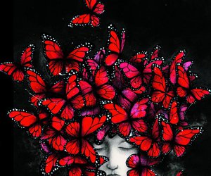 red and butterflies image