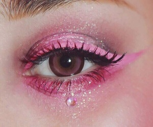 pink, makeup, and eyes image