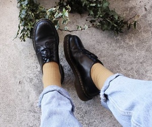 aesthetic, black shoes, and denim image
