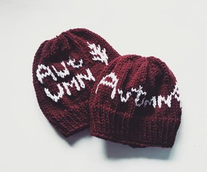 autumn, knit beanies, and burgundy image