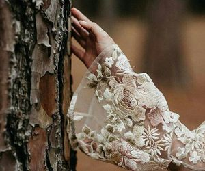 dress, flowers, and lace image