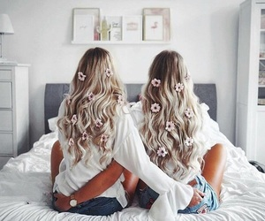 best friends, curls, and flowers image