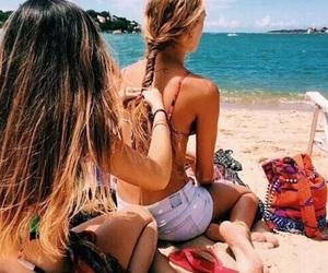 beach, summer, and hair image