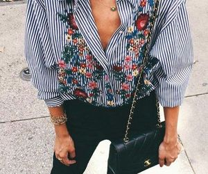 denim, embroidery, and flowers image