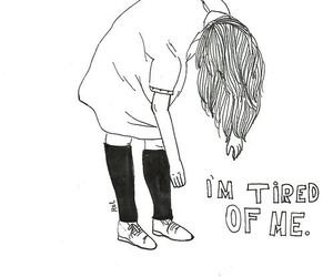 tired, sad, and drawing image