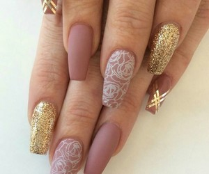 gold, nails, and roses image