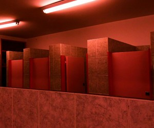 bathroom, red, and light image