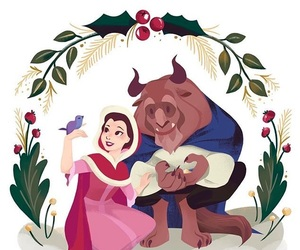 adam, beauty and the beast, and christmas image