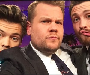Harry Styles, james corden, and one direction image