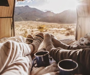 couple, nature, and coffee image