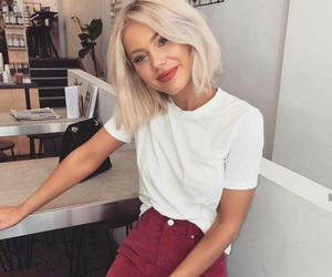 blonde hair, fashion, and outfit image