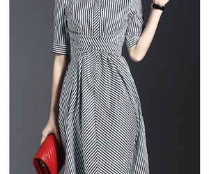 black and white, clutch, and dress image