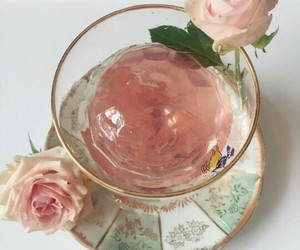 drink, roses, and pink image