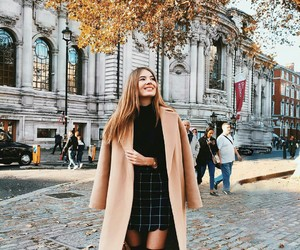 coat, over the knee boots, and fall image