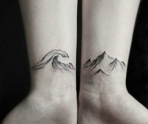tattoo, mountains, and waves image