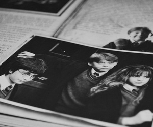 harry potter, black and white, and emma watson image