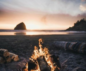 beach, fire, and adventure image