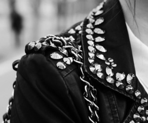 black and white, jacket, and rock image