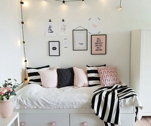 bed, lamps, and pink image