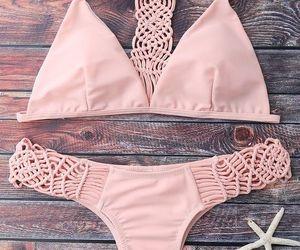 beach, bikini, and pink image