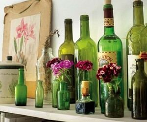 home decor, glass bottles, and bottle vases image