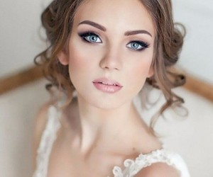 wedding, makeup, and bride image
