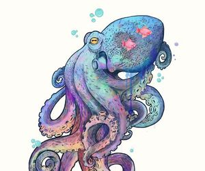 octopus, art, and sea image