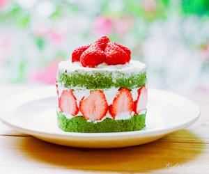 cake, green tea, and sugar image