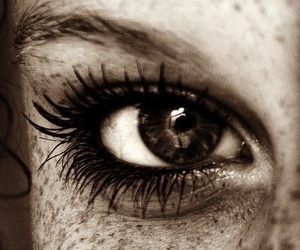 eye, freckles, and black and white image