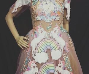 dress, unicorn, and rainbow image