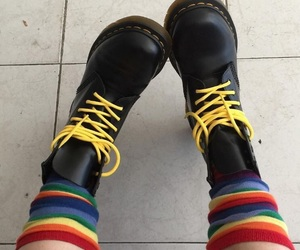 rainbow, shoes, and yellow image