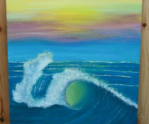 big wave, wall decor, and wave painting image