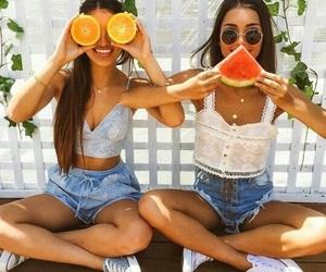bffs, fruit, and girls image