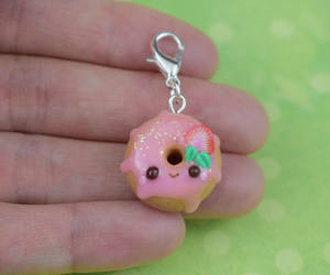 etsy, strawberry donut, and food jewelry image