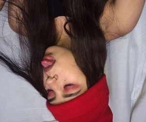beanie, red, and lips image