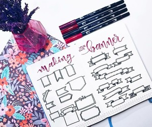 banner, homework, and pens image