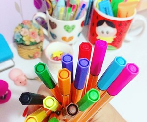 colorful, pens, and stationary image
