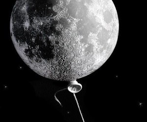 moon, balloon, and black and white image