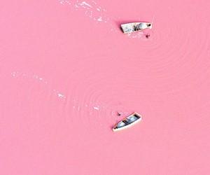 pink, boat, and lake image