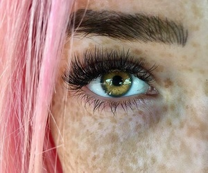 eye, pink, and green image