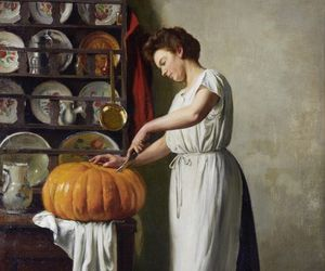 art, painting, and pumpkin image