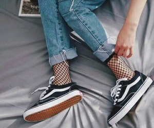 fashion, fishnet, and jeans image