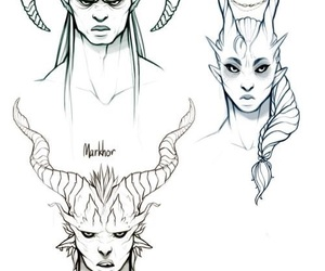 art, drawing, and horns image