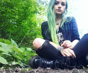 alternative, green hair, and tattoo image