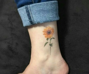 tattoo, flower, and girl image