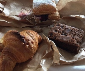 food, brownie, and croissant image